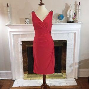 🌹Lauren Ralph Lauren Coral stretch lined dress